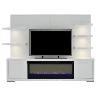Rialto White Wall Unit w/Faux Fireplace