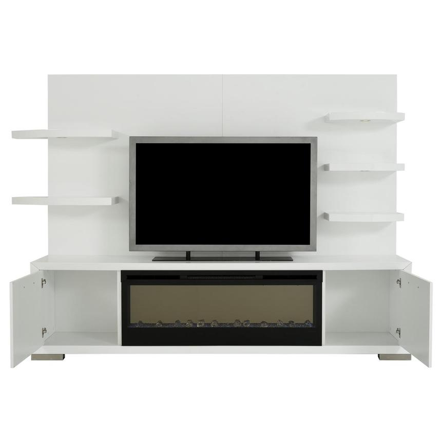 Rialto White Wall Unit w/Faux Fireplace  alternate image, 2 of 10 images.