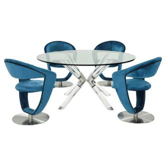 Ace/Clarisse Blue 5-Piece Formal Dining Set