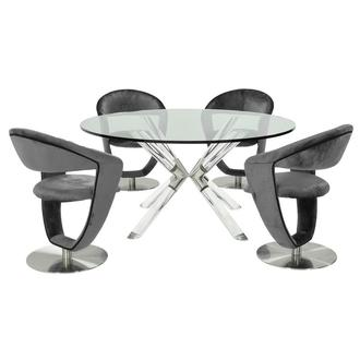 Ace/Clarisse Gray 5-Piece Formal Dining Set
