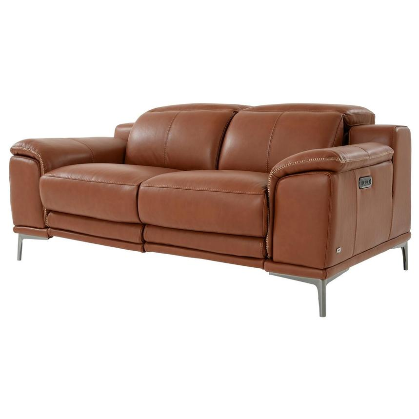 Katherine Tan Leather Power Reclining Loveseat  alternate image, 2 of 10 images.