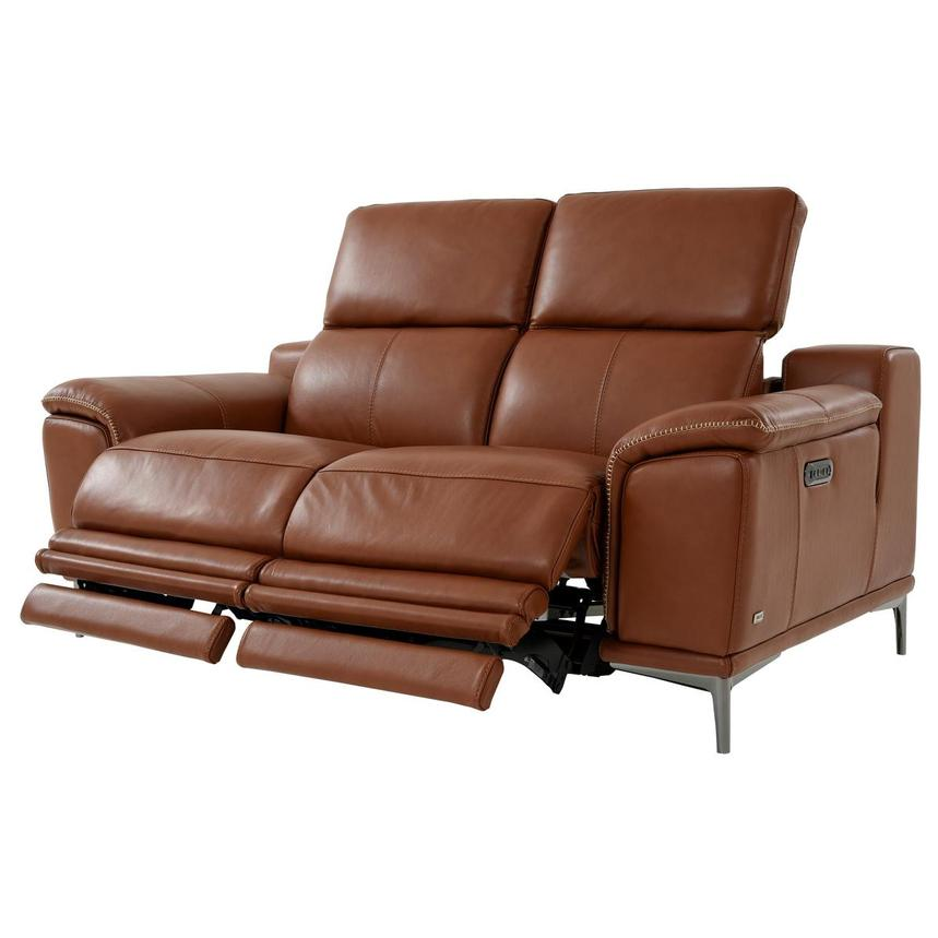 Katherine Tan Leather Power Reclining Loveseat  alternate image, 3 of 12 images.