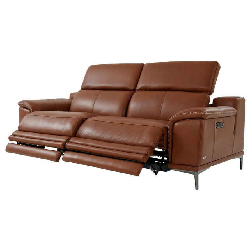 Katherine Tan Leather Power Reclining Sofa  alternate image, 3 of 12 images.