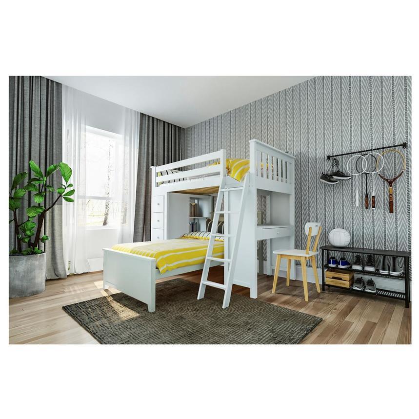 Haus White Twin Over Twin Bunk Bed W Desk Chest El Dorado