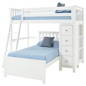Haus White Twin Over Twin Bunk Bed w/Chest
