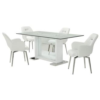 Finley White 5-Piece Dining Set