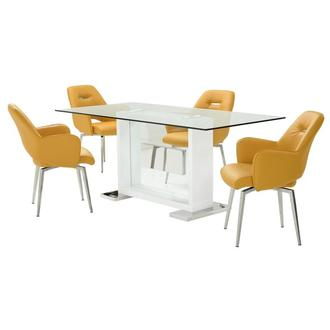 Finley Yellow 5-Piece Formal Dining Set