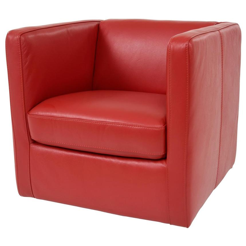 Cute Red Leather Swivel Chair  alternate image, 2 of 6 images.