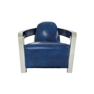 Aviator II Blue Leather Accent Chair