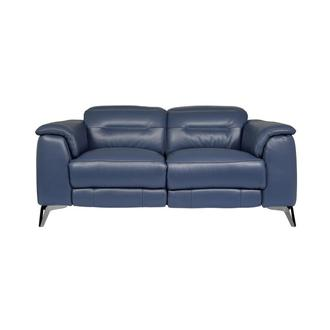 Anabel Blue Leather Power Reclining Loveseat
