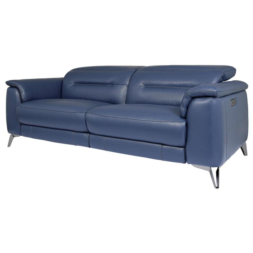 Anabel Blue Leather Power Reclining Sofa  alternate image, 2 of 10 images.
