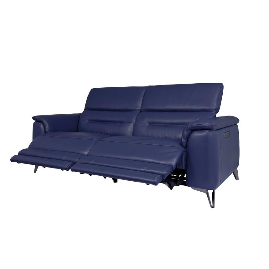 Anabel Blue Leather Power Reclining Sofa  alternate image, 3 of 12 images.