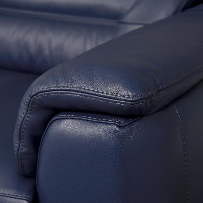 Anabel Blue Leather Power Reclining Sofa  alternate image, 8 of 12 images.