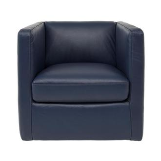 Cute Blue Leather Swivel Chair