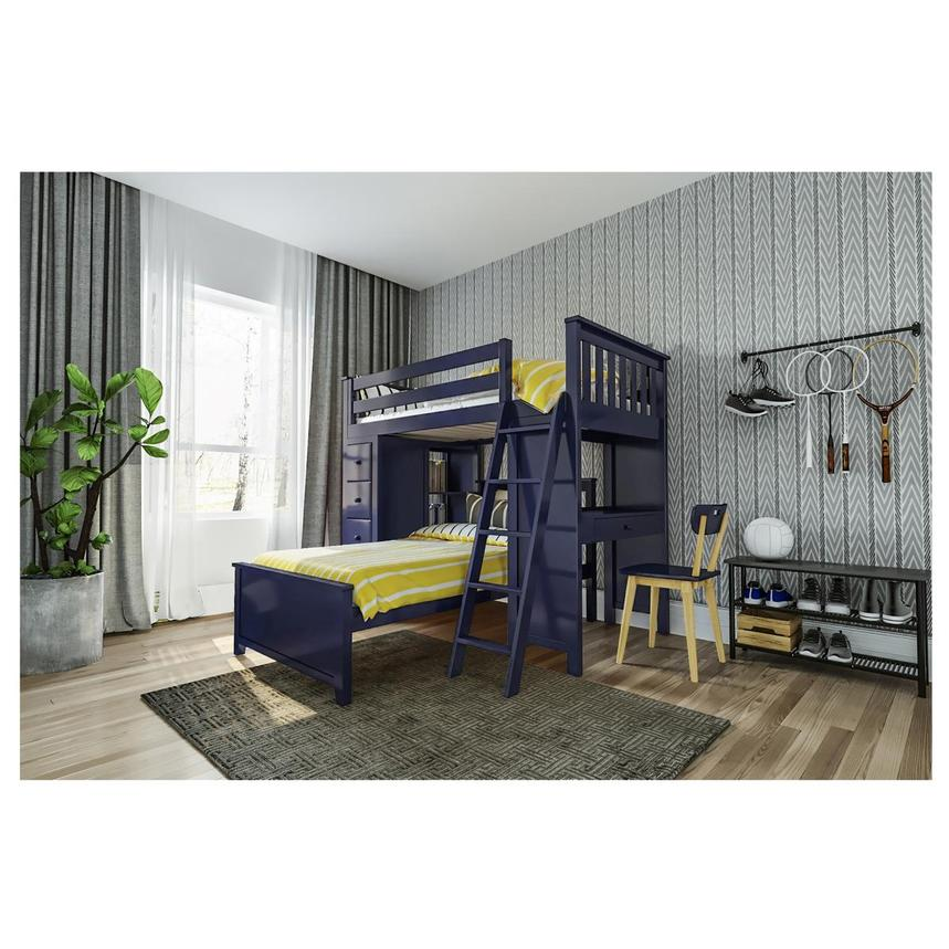 Haus Blue Twin Over Twin Bunk Bed w/Desk & Chest  alternate image, 2 of 12 images.