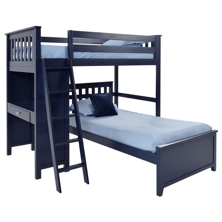 Haus Blue Twin Over Twin Bunk Bed W Desk El Dorado Furniture