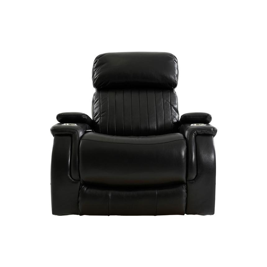 Obsidian Leather Power Recliner w/Massage & Heat  main image, 1 of 13 images.