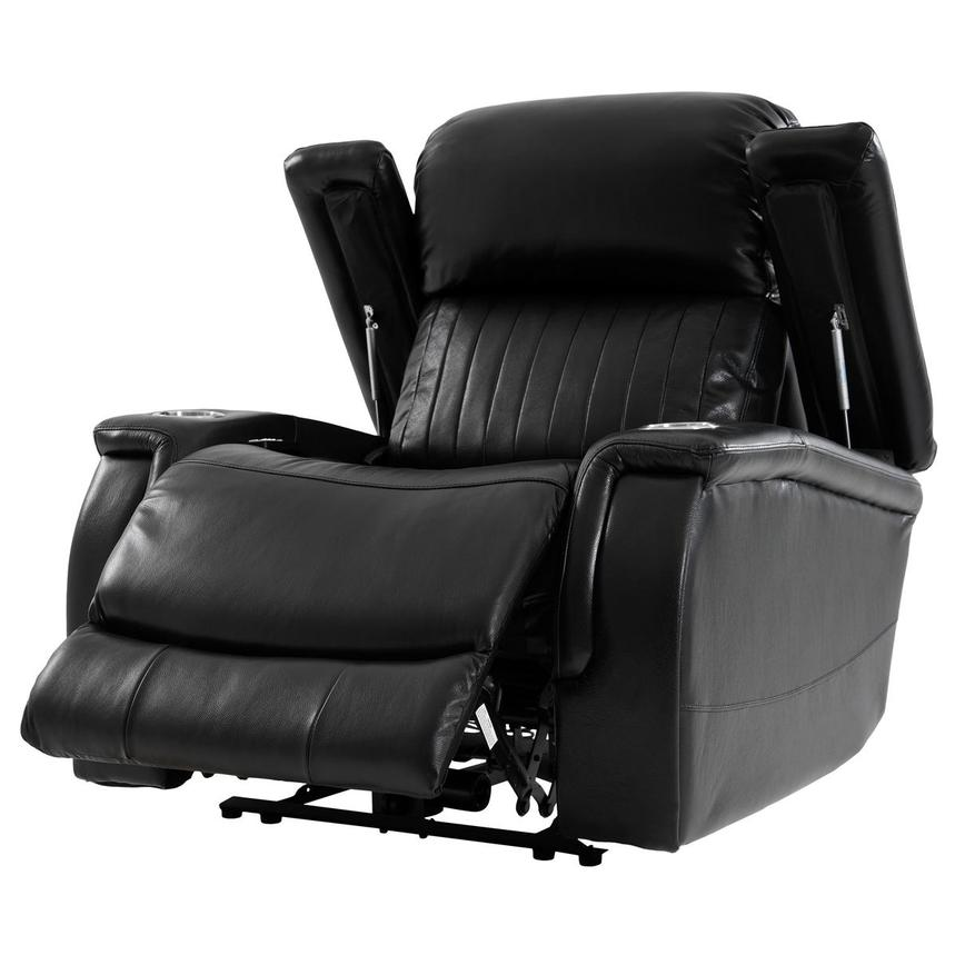 Obsidian Leather Power Recliner w/Massage & Heat  alternate image, 3 of 13 images.