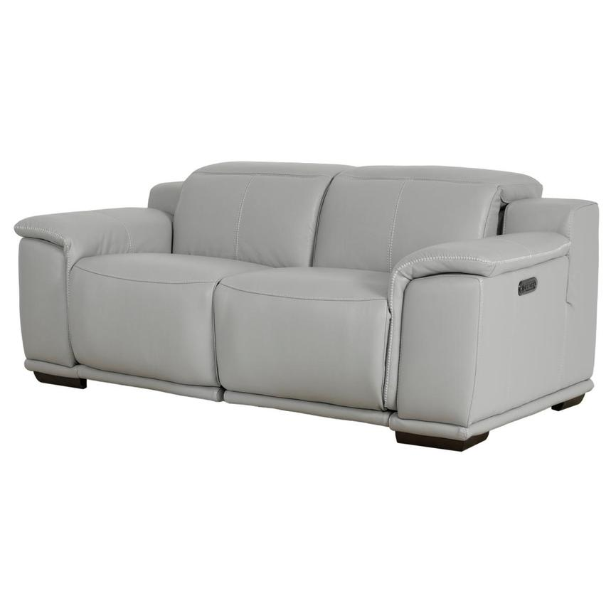 Davis 2.0 Light Gray Leather Power Reclining Loveseat  alternate image, 2 of 10 images.
