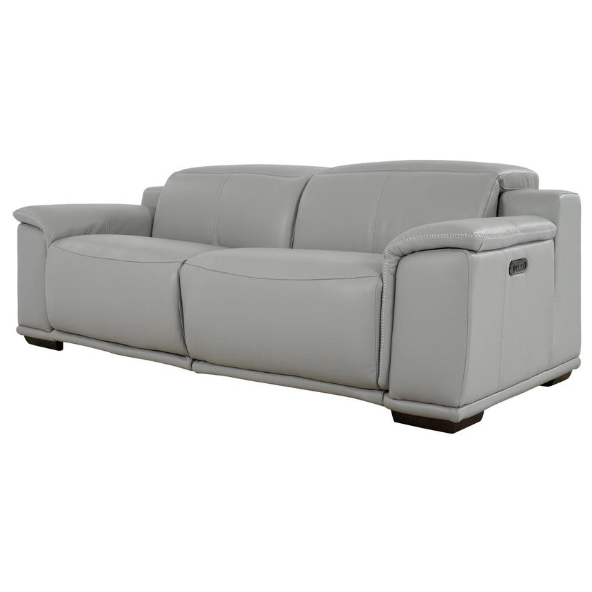 Davis 2.0 Light Gray Leather Power Reclining Sofa  alternate image, 2 of 10 images.