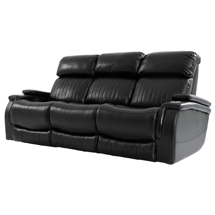 Obsidian Leather Power Reclining Sofa w/Massage & Heat  alternate image, 2 of 15 images.