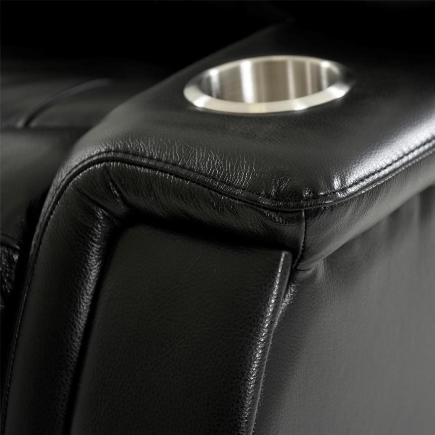 Obsidian Leather Power Reclining Sofa w/Massage & Heat  alternate image, 11 of 16 images.