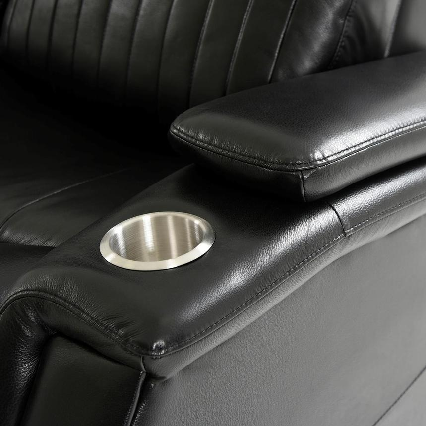 Obsidian Leather Power Reclining Sofa w/Massage & Heat  alternate image, 12 of 15 images.