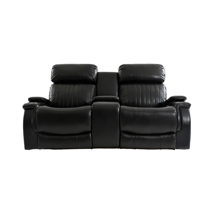 Obsidian Leather Power Reclining Sofa w/Massage & Heat  main image, 1 of 15 images.
