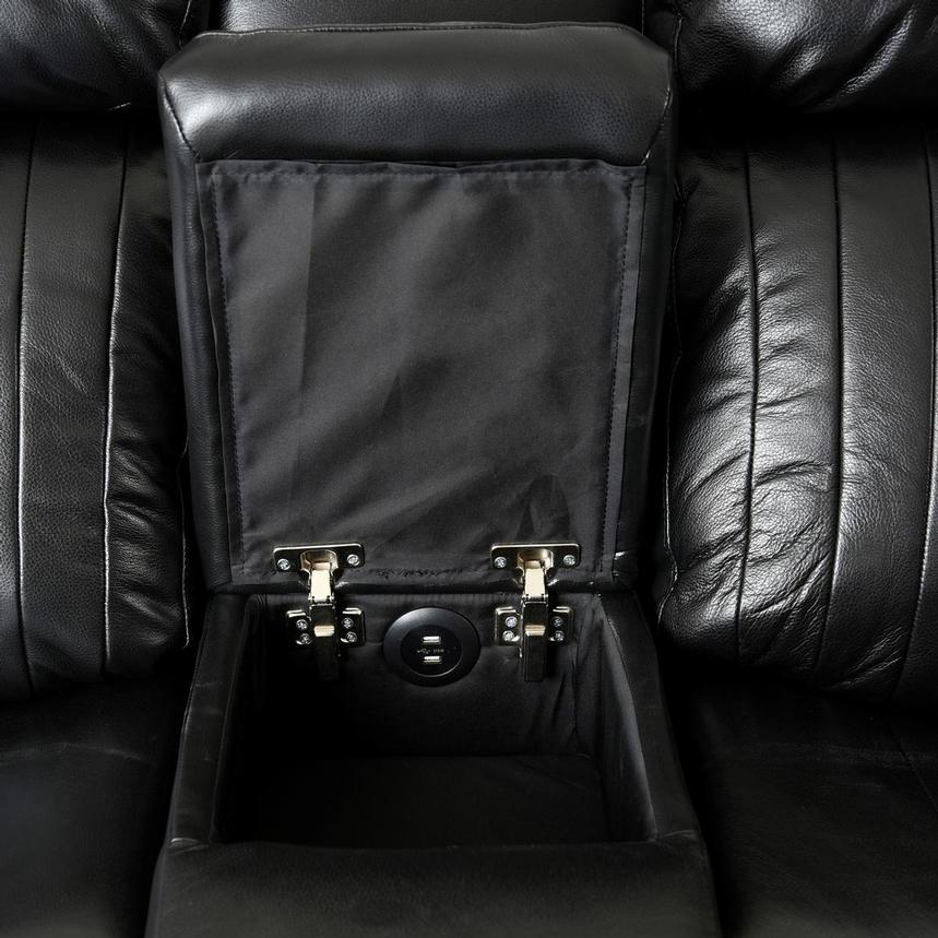 Obsidian Leather Power Reclining Sofa w/Massage & Heat  alternate image, 11 of 15 images.