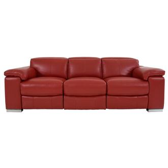 Charlie Red Leather Power Reclining Sofa