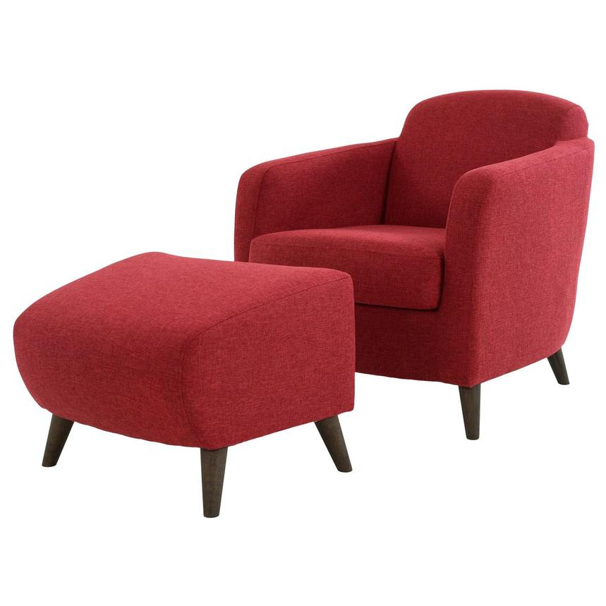 Haisley Red Accent Chair w/Ottoman  alternate image, 2 of 15 images.