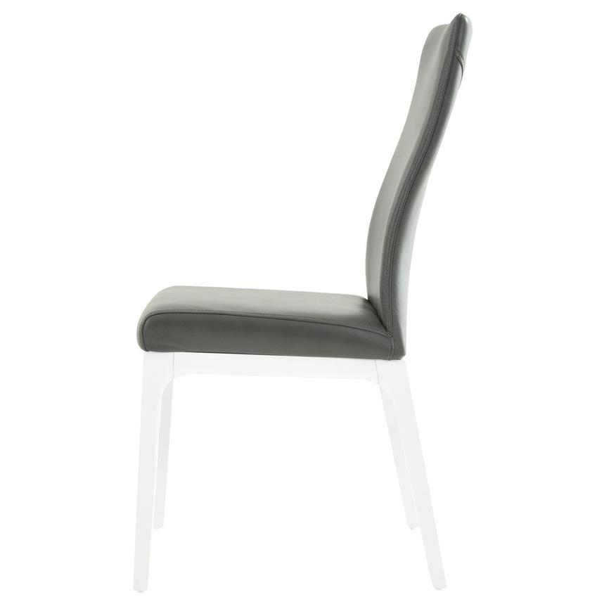 Valencia White/Gray Leather Side Chair  alternate image, 3 of 6 images.