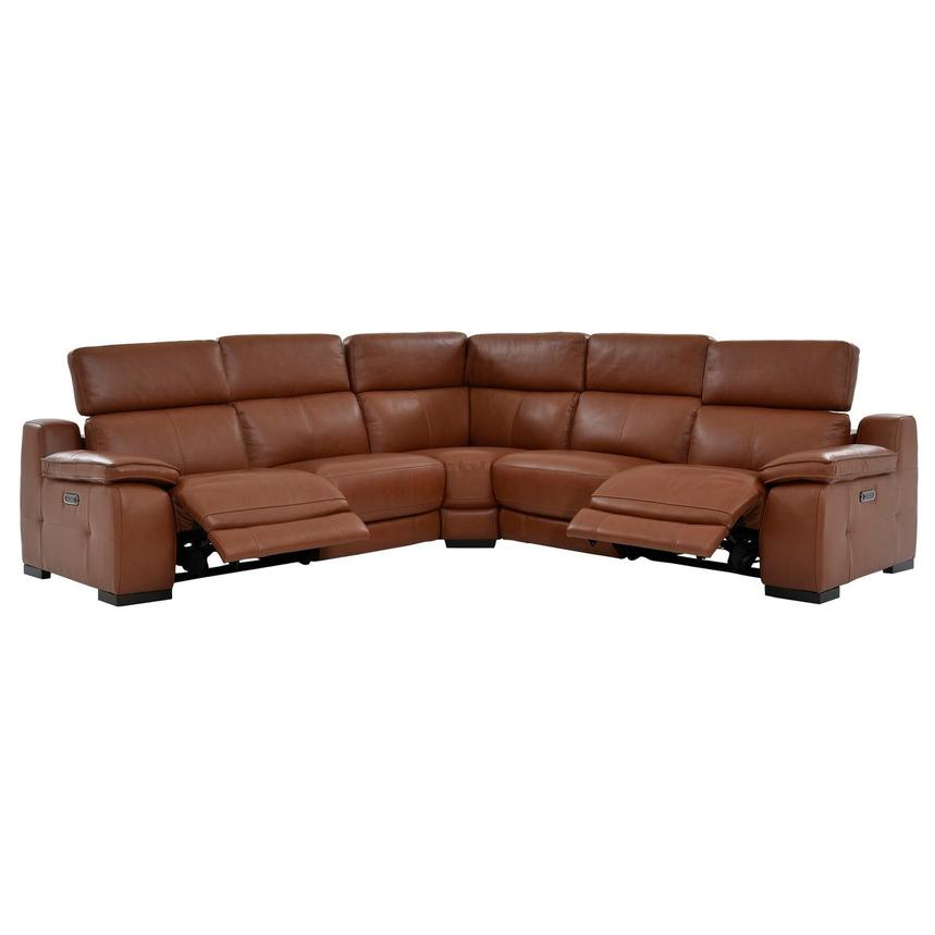 Gian Marco Tan Leather Power Reclining Sectional  alternate image, 3 of 8 images.
