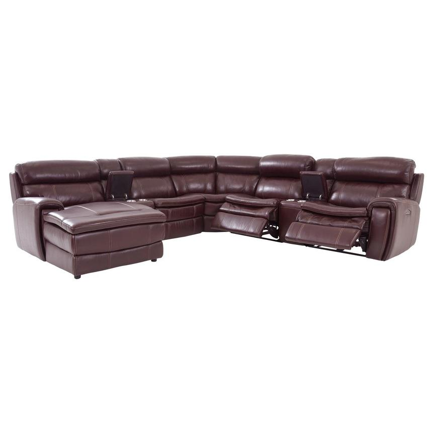Napa Burgundy Leather Power Reclining Sectional w/Left Chaise  alternate image, 2 of 8 images.