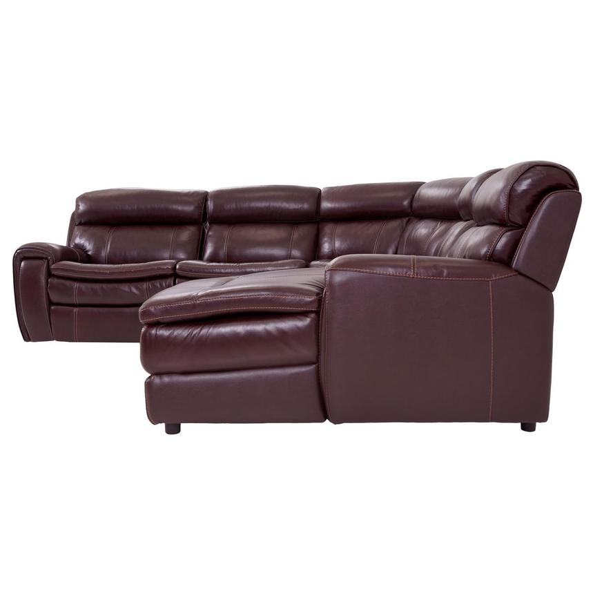 Napa Burgundy Leather Power Reclining Sectional w/Right Chaise  alternate image, 3 of 8 images.