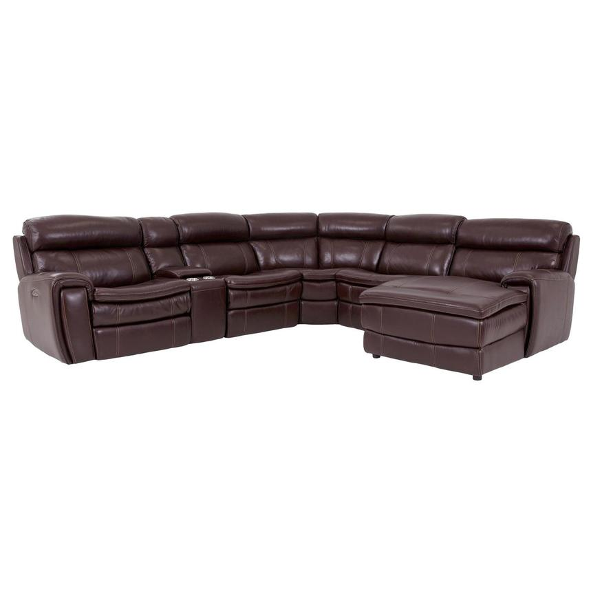 Napa Burgundy Leather Power Reclining Sectional w/Right Chaise  main image, 1 of 9 images.