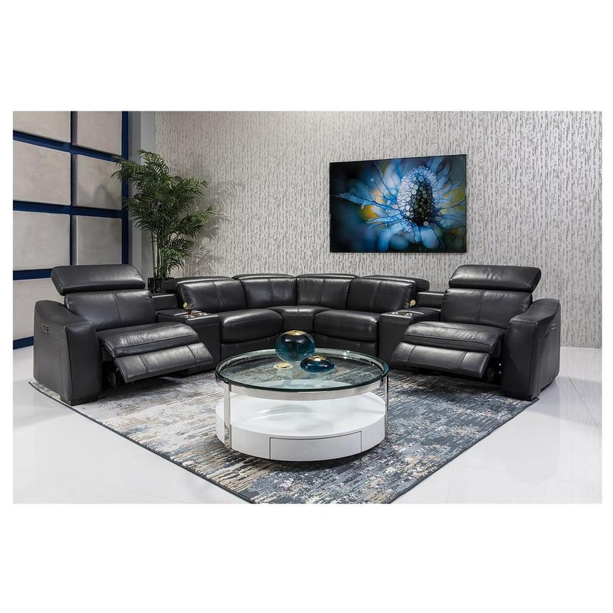 Jay Dark Gray Leather Power Reclining Sectional  alternate image, 2 of 8 images.