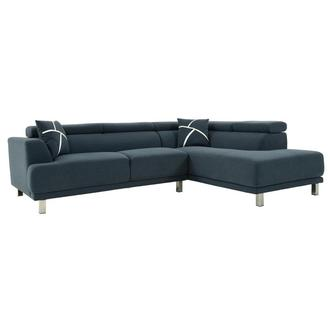 Ilias Blue Corner Sofa w/Right Chaise