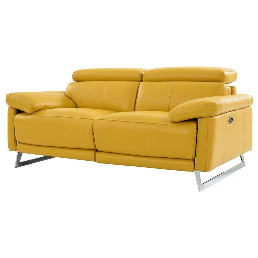 Gabrielle Yellow Leather Power Reclining Loveseat  alternate image, 2 of 10 images.