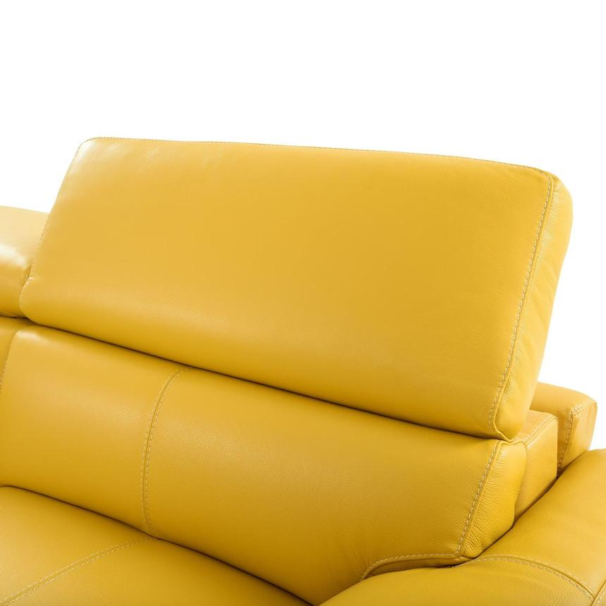Gabrielle Yellow Leather Power Reclining Loveseat  alternate image, 7 of 10 images.