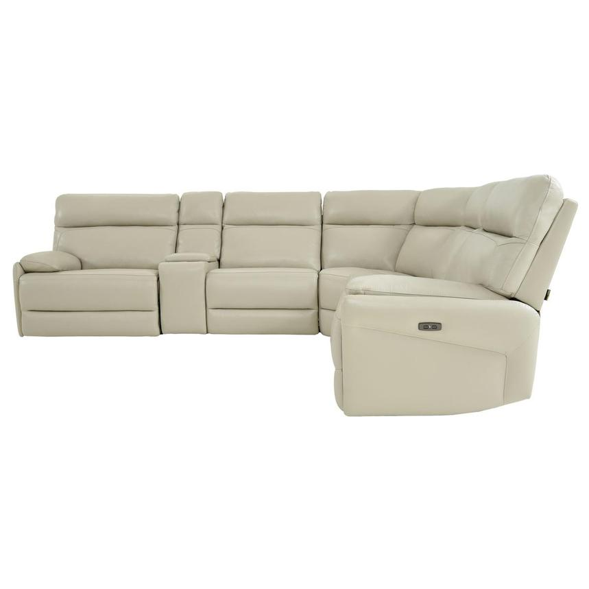 Benz Cream Leather Power Reclining Sectional  alternate image, 3 of 12 images.