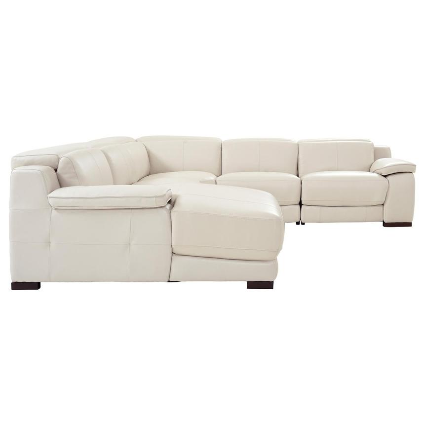 Gian Marco Cream Leather Power Reclining Sectional w/Left Chaise  alternate image, 3 of 10 images.