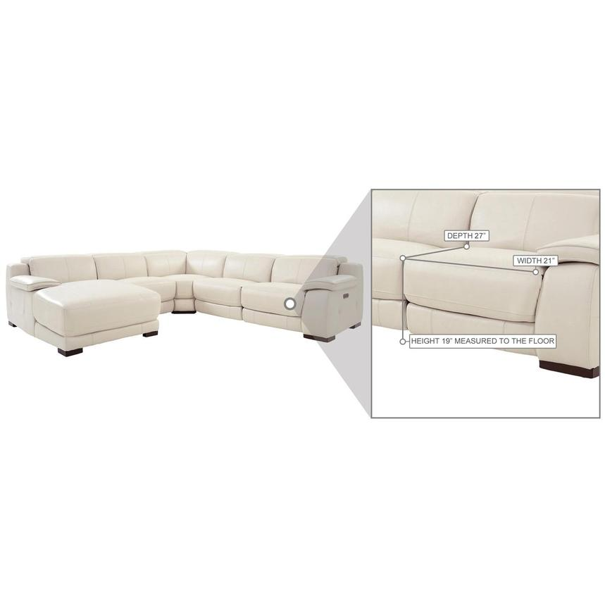 Gian Marco Cream Leather Power Reclining Sectional w/Left Chaise  alternate image, 8 of 10 images.