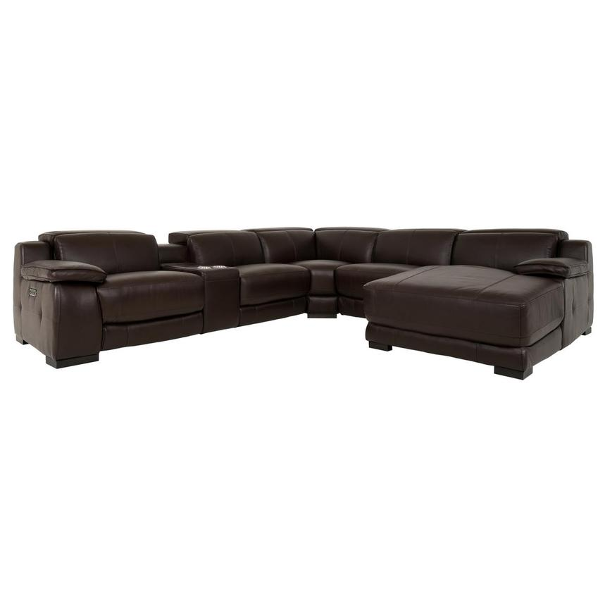 Gian Marco Dark Brown Leather Power Reclining Sectional w/Right Chaise  main image, 1 of 9 images.