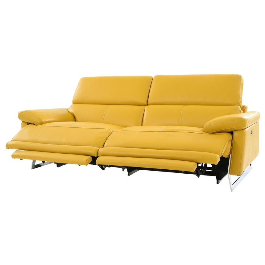 Gabrielle Yellow Leather Power Reclining Sofa  alternate image, 3 of 11 images.