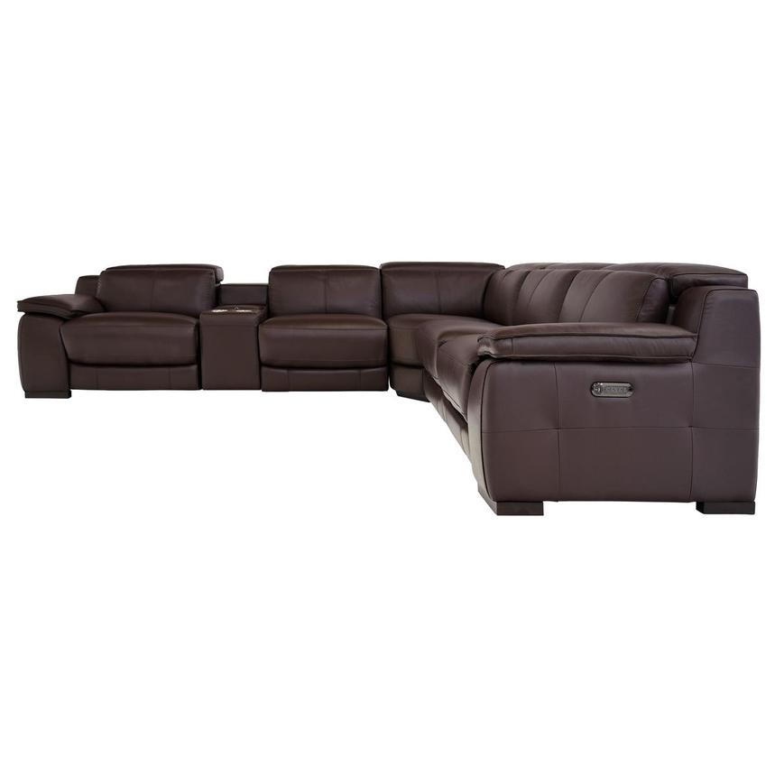 Gian Marco Dark Brown Leather Power Reclining Sectional  alternate image, 3 of 9 images.