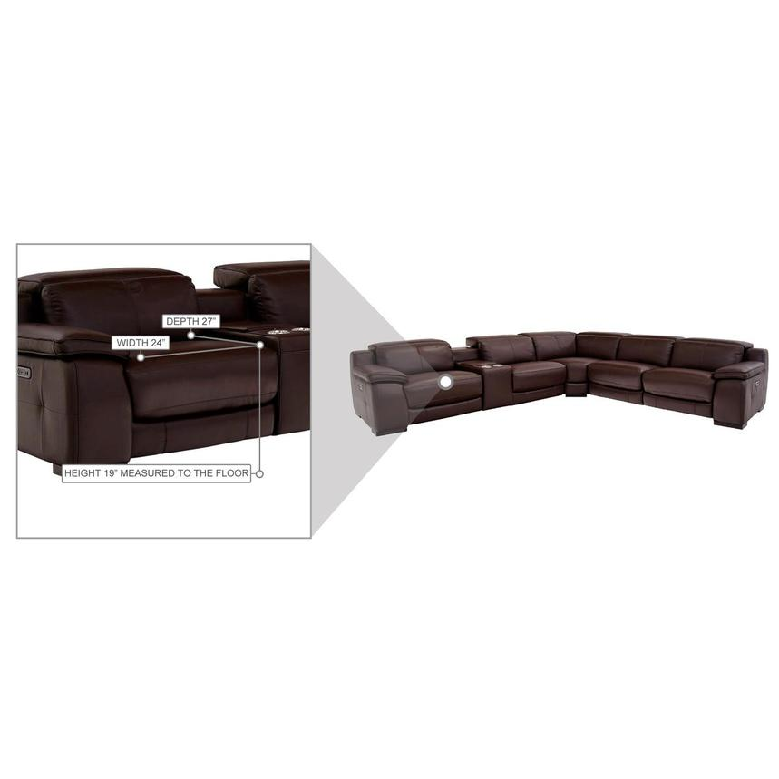 Gian Marco Dark Brown Leather Power Reclining Sectional  alternate image, 8 of 9 images.