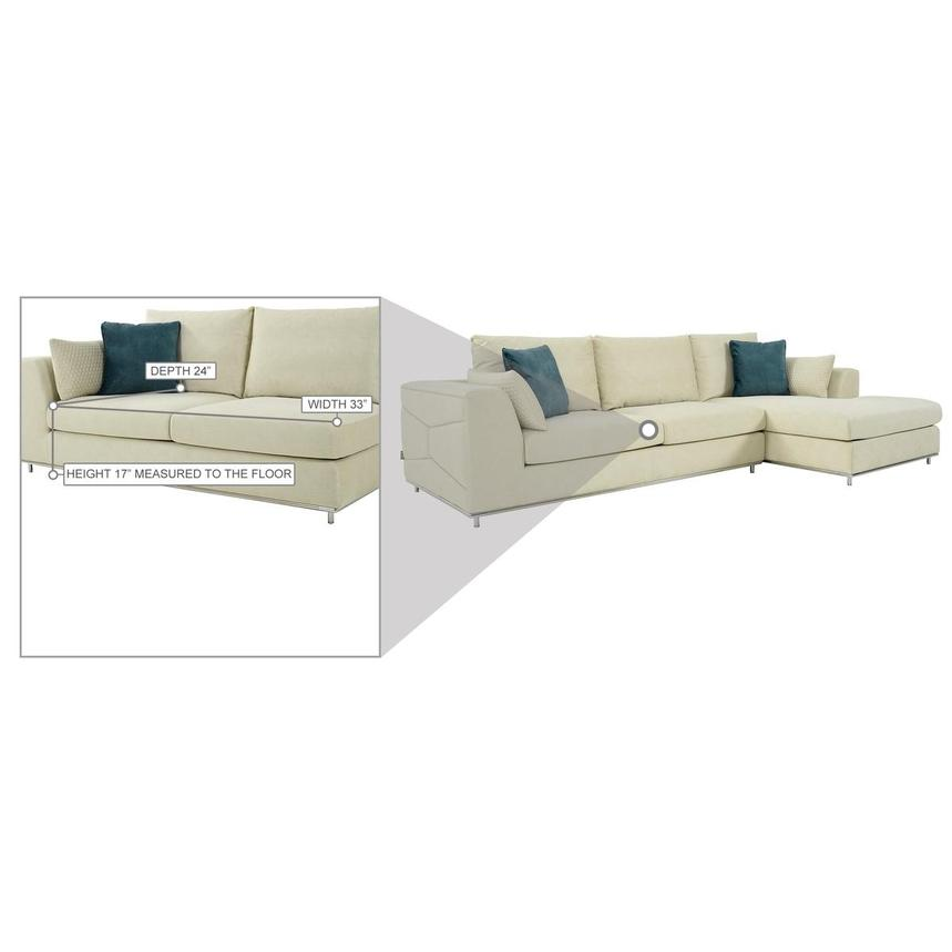 Grigio Cream Sectional Sofa w/Right Chaise  alternate image, 8 of 9 images.