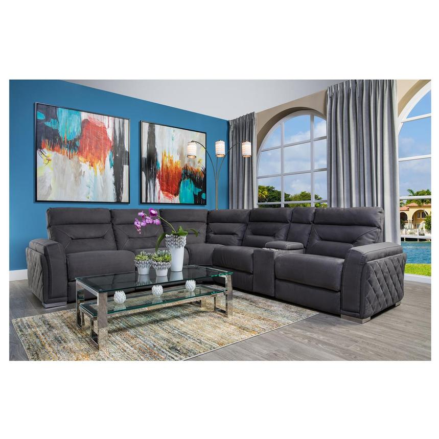 Kim Gray Power Reclining Sofa w/Console  alternate image, 2 of 13 images.