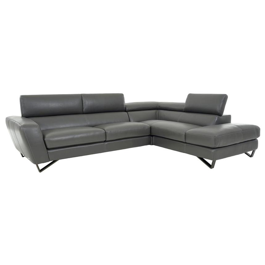 Sparta Gray Leather Corner Sofa w/Right Chaise  alternate image, 3 of 12 images.